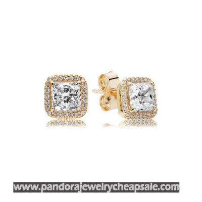Pandora Collections Timeless Elegance Stud Earrings 14K Gold Clear Cz Cheap Sale