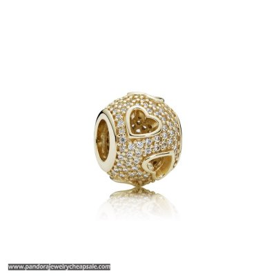 Pandora Symbols Of Love Charms Tumbling Hearts Charm Clear Cz 14K Gold Cheap Sale