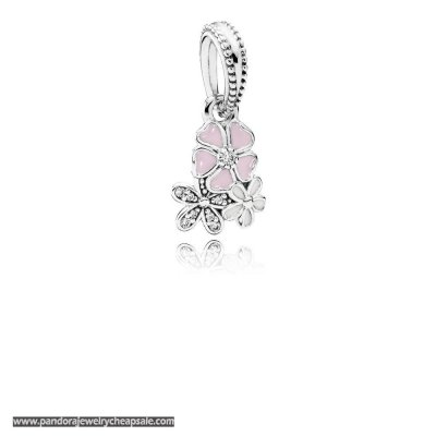 Pandora Nature Charms Poetic Blooms Pendant Charm Mixed Enamels Clear Cz Cheap Sale