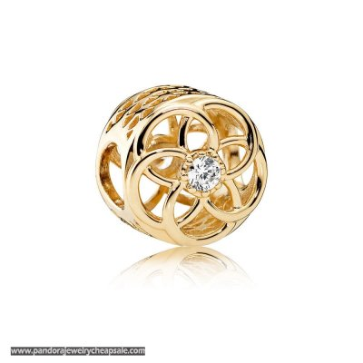 Pandora Contemporary Charms Loving Bloom Charm 14K Gold Clear Cz Cheap Sale