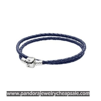 Pandora Bracelets Leather Dark Blue Braided Double Leather Charm Bracelet Cheap Sale