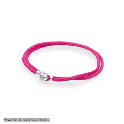 Pandora Bracelets Cord Hot Pink Fabric Cord Double Braided Leather Bracelets Cheap Sale