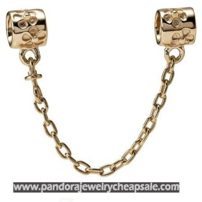 Pandora Collections Flower Charm Safety Chain 14K Gold Cheap Sale