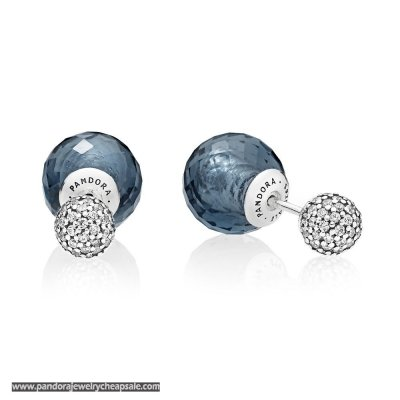 Pandora Earrings Shimmering Drops Midnight Blue Crystals Clear Cz Cheap Sale