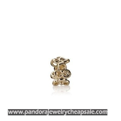 Pandora Spacers Charms Trinity Flowers Spacer 14K Gold Cheap Sale