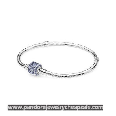 Pandora Bracelets Classic Signature Clasp Bracelet Royal Blue Crystal Cheap Sale