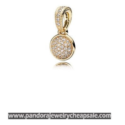 Pandora Pendants Dazzling Droplet Pendant 14K Gold Clear Cz Cheap Sale