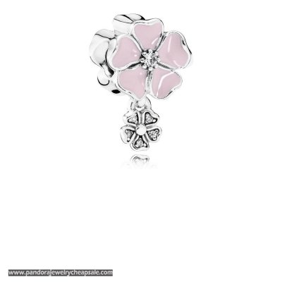 Pandora Nature Charms Poetic Blooms Soft Pink Enamel Clear Cz Cheap Sale