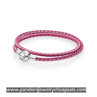 Pandora Bracelets Leather Mixed Pink Woven Double Leather Charm Bracelet Cheap Sale