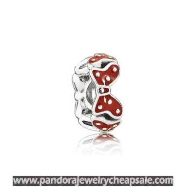 Pandora Disney Charms Minnie'S Bows Spacer Red White Enamel Cheap Sale