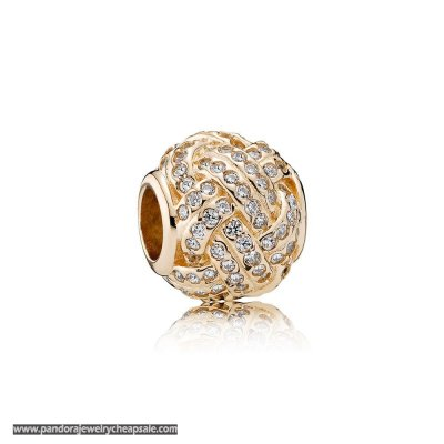 Pandora Sparkling Paves Charms Sparkling Love Knot Charm 14K Gold Clear Cz Cheap Sale