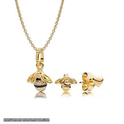 Pandora Shine Queen Bee Necklace And Earring Set Cheap Sale