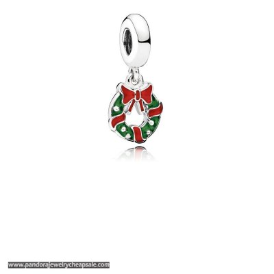 Pandora Winter Collection Holiday Wreath Pendant Charm Berry Red Green Enamel Cheap Sale