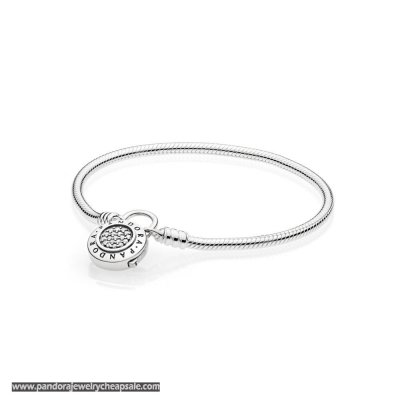 Pandora Moments Smooth Bracelet With Signature Padlock Cheap Sale