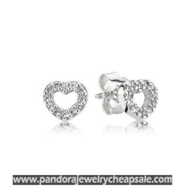Pandora Earrings Be My Valentine Heart Stud Earrings Clear Cz Cheap Sale