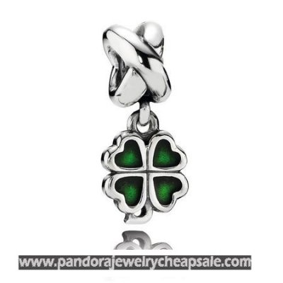 Pandora St. Patrick'S Day Good Luck Charms Four Leaf Clover Pendant Charm Green Enamel Cheap Sale