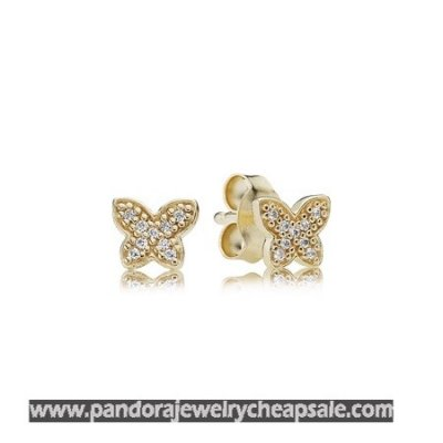 Pandora Collections Petite Butterfly Stud Earrings Clear Cz 14K Gold Cheap Sale