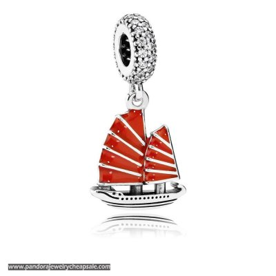 Pandora Passions Charms Nautical Chinese Junk Ship Pendant Charm Red Enamel Clear Cz Cheap Sale