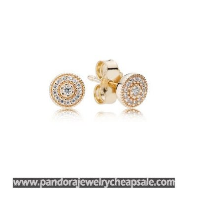 Pandora Collections Radiant Elegance Stud Earrings 14K Gold Clear Cz Cheap Sale