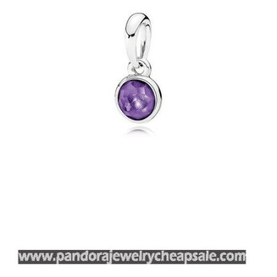 Pandora Pendants February Droplet Pendant Synthetic Amethyst Cheap Sale