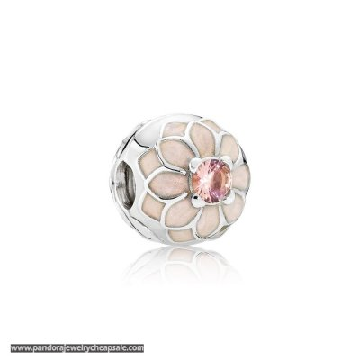 Pandora Clips Charms Blooming Dahlia Clip Cream Enamel Blush Pink Crystal Cheap Sale