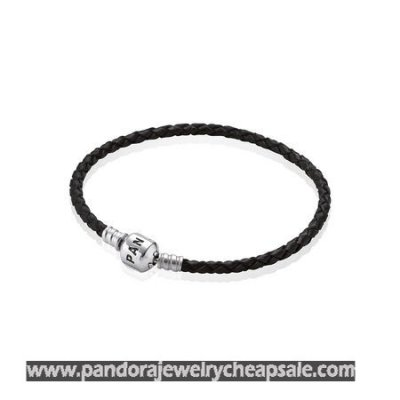 Pandora Bracelets Leather Black Braided Leather Charm Bracelet Cheap Sale