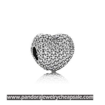 Pandora Clips Charms Pave Open My Heart Clip Clear Cz Cheap Sale