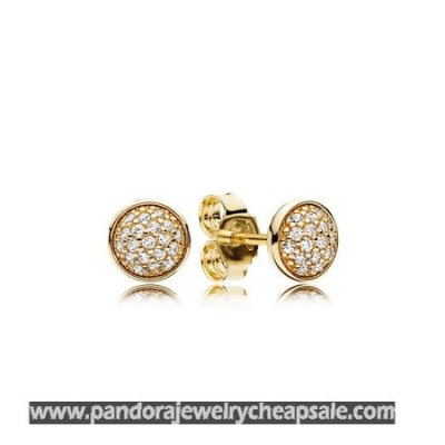 Pandora Collections Dazzling Droplets Stud Earrings 14K Gold Clear Cz Cheap Sale