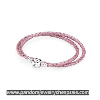 Pandora Bracelets Leather Pink Braided Double Leather Charm Bracelet Cheap Sale