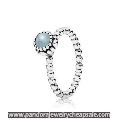 Pandora Rings Birthday Blooms Ring March Aquamarine Cheap Sale