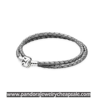 Pandora Bracelets Leather Silver Grey Braided Double Leather Charm Bracelet Cheap Sale