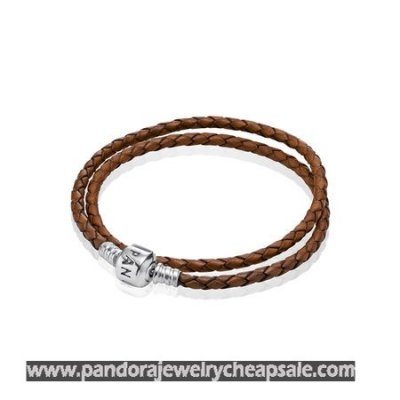 Pandora Bracelets Leather Brown Braided Double Leather Charm Bracelet Cheap Sale