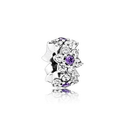 Pandora Spacers Charms Forget Me Not Spacer Purple Clear Cz Cheap Sale