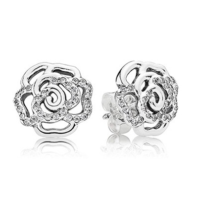 Pandora Earrings Shimmering Rose Stud Earrings Clear Cz Cheap Sale